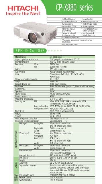 CP-X880 series - Hitachi America, Ltd.