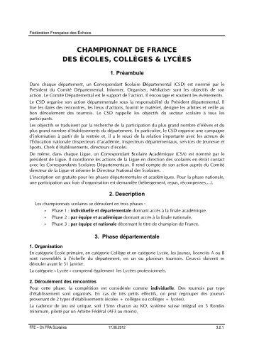 Championnat de France Scolaires - Fédération Française des Échecs