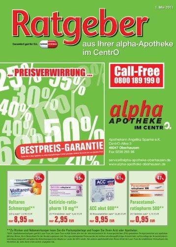 rabatt-gutschein 15% - alpha Apotheke im CentrO.