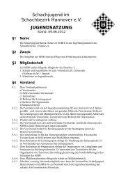 Schachjugend im Schachbezirk Hannover e.V. JUGENDSATZUNG