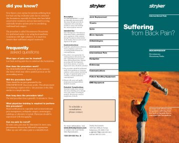 Suffering from Back Pain? - Stryker do Brasil
