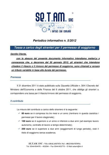 5 2012 TASSA STRANIERI PER PERMESSO DI ... - Setam.it