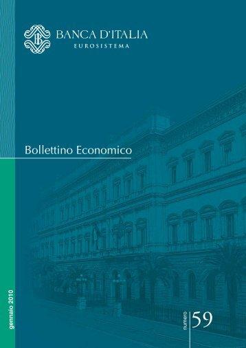 Bollettino Economico n. 59, Gennaio 2010 - Banca d'Italia
