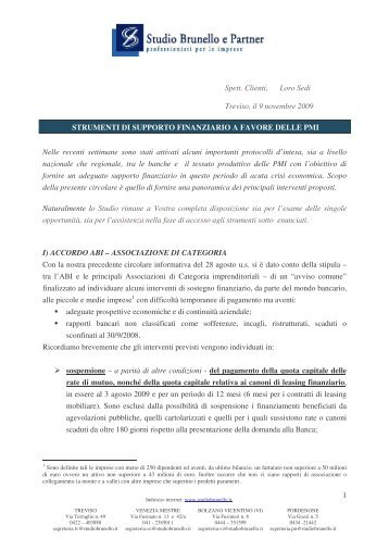 Circolare strumenti finanziari a supporto PMI ... - Studio Brunello