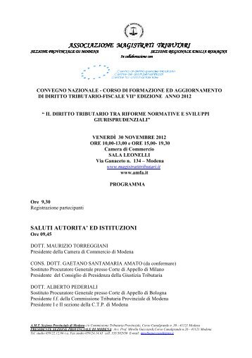 PROGRAMMA 30-11-2012 NOVITA' FISCALI LEGISLATIVE ... - AMFA