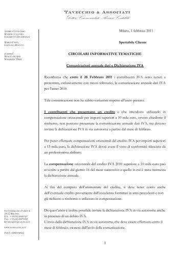Comunicazione annuale e dichiarazioni IVA - tavecchioeassociati.net
