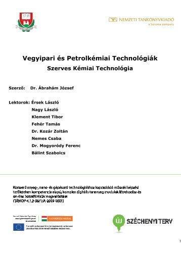 Vegyipari és Petrolkémiai Technológiák Szerves Kémiai Technológia