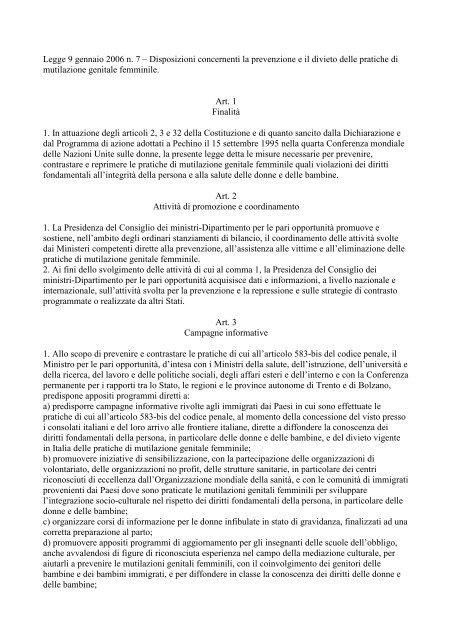Legge 9 gennaio 2006 n. 7 – Disposizioni concernenti ... - Aodv231.it