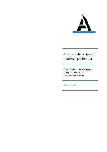Giornata della ricerca materiali preliminari - Facoltà di Architettura
