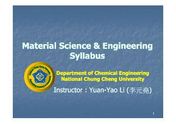 Material Science & Engineering Syllabus