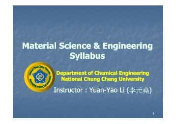 Material Science & Engineering Syllabus