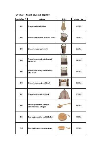Ceník saunové doplňky
