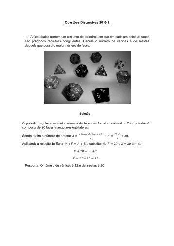 Questões Discursivas 2010-1 1 – A foto abaixo contém um conjunto ...
