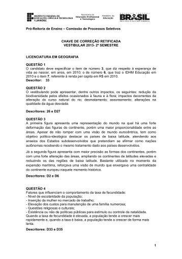Pró-Reitoria de Ensino – Comissão de Processos Seletivos CHAVE ...