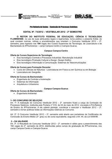 edital vestibular 2012 - 2º semestre.pdf - Instituto Federal Fluminense