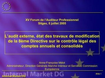 Modernisation de la 8ème Directive