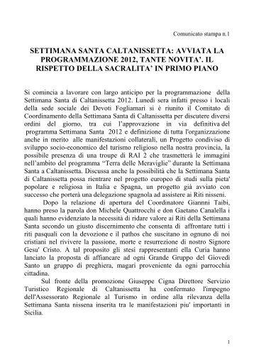 Il comunicato stampa sulla programmazione 2012 della Settimana ...