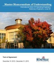 Master Memorandum of Understanding - City of Roseville