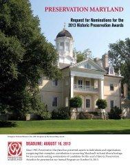 2013 Preservation awards nomination Form - Preservation Maryland