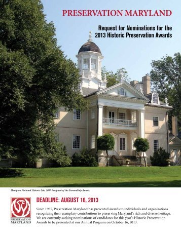 2013 Preservation awards nomination Form - Preservation Maryland