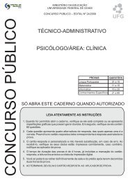 TÉCNICO-ADMINISTRATIVO PSICÓLOGO/ÁREA ... - Vestibular - UFG