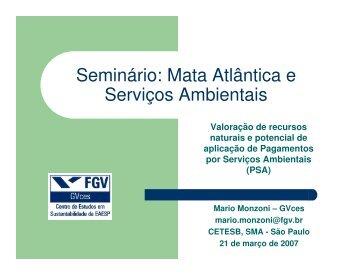 Seminário: Mata Atlântica e Serviços Ambientais - Reserva da ...