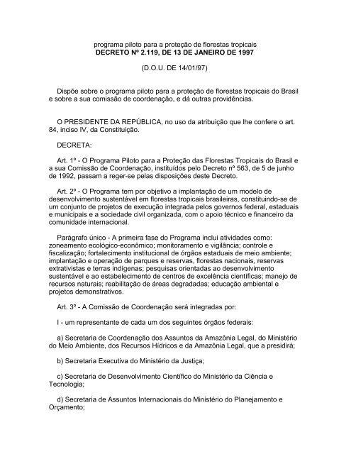 programa piloto para a proteção de florestas tropicais - Reserva da ...