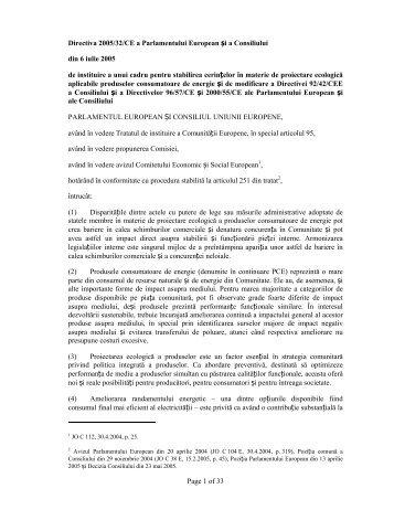 Page 1 of 33 Directiva 2005/32/CE a Parlamentului European și a ...