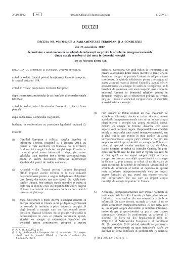 Decizia nr. 994/2012/UE a Parlamentului European și a ... - EUR-Lex