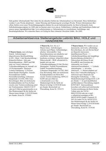 Arbeitsmarktservice Stellenangebote Leibnitz BAU, HOLZ und ...