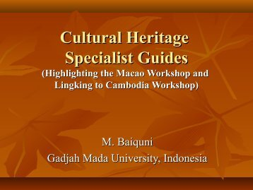 Cultural Specialist Heritage Guides - Forum for Urban Future in ...