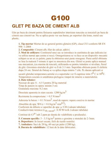 GLET PE BAZA DE CIMENT ALB - Deccons