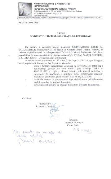 10. Sindicatul Liber al Salariatilor Petrobrazi - ITM Prahova