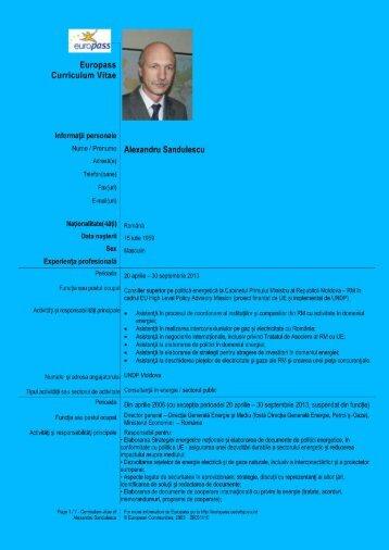 CV Alexandru Sandule.. - Nuclearelectrica