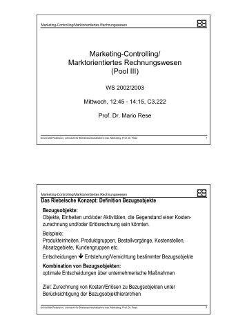 Marketing Controlling Marktorientiertes Rechnungswesen Pool Iii