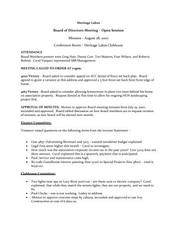 homeowners association meeting minutes template