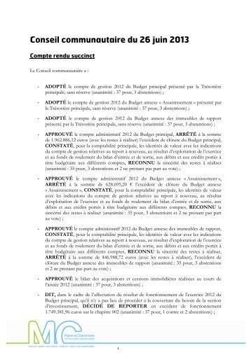 Conseil communautaire du 26 juin 2013 - Communauté d ...