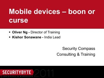 Mobile devices – boon or curse - Securitybyte