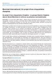 (CA) (Juin) - Le groupe Amaris s'implante dans le Grand Montréal