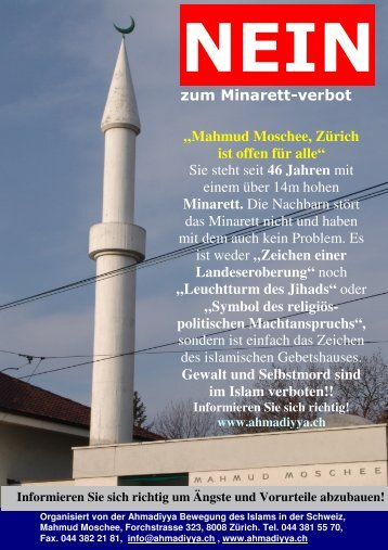 Minarett, Leuchtturm des Jihads? (Hotel Kreuz, Nidau)