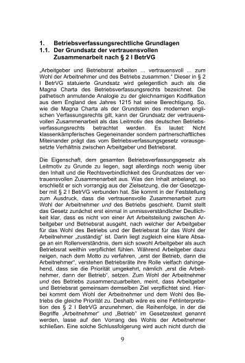 1. Betriebsverfassungsrechtliche Grundlagen 1.1 ... - DATAKONTEXT