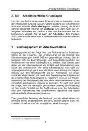 2. Teil Arbeitsrechtliche Grundlagen 1 Leistungspflicht im ...
