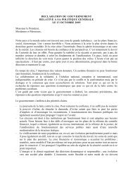 La déclaration gouvernementale - Fedweb