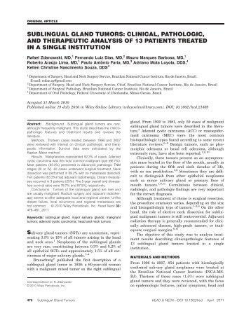 Sublingual gland tumors: Clinical, pathologic, and therapeutic ...