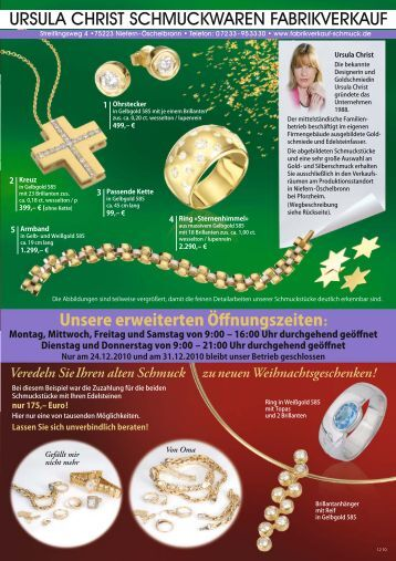ursula christ schmuckwaren fabrikverkauf