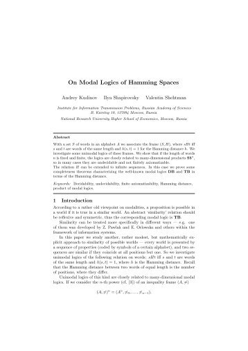 On Modal Logics of Hamming Spaces - Advances in Modal Logic