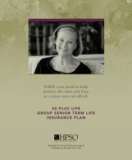 HPSO 50 Plus Group Senior Term Life Insurance brochure