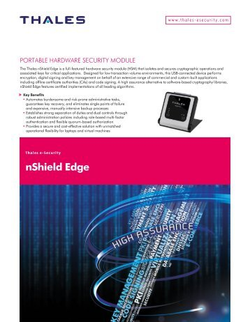 nShield Edge Data Sheet - Thales e-Security