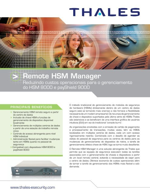 Remote HSM Manager - Thales e-Security