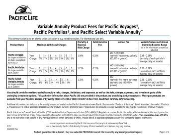 Product Fees Fact Sheet (Voyages, Portfolio, PSVA) - Pacific Life